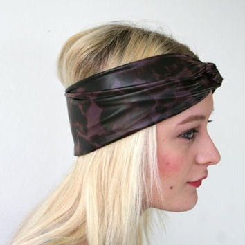 Animal print headband, burgundy/ brown print, faux stretch leather, women's turban twist headband (H25)