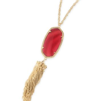 Rayne Gold Long Pendant Necklace in Burgundy | Kendra Scott