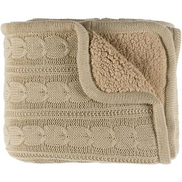 Tucker Knitted Fleece-Lined Throw Blanket - Tan