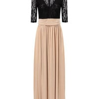 Black and Apricot Maxi Dress with Thigh Split