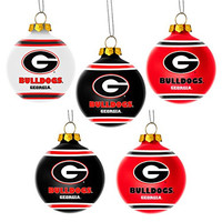 NCAA Georgia Bulldogs Shatterproof Ball Ornament (Pack of 5), Red