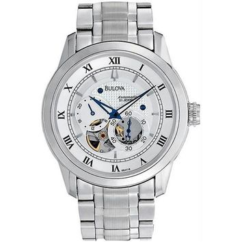 Bulova 96A118 Mens Stainless Steel Automatic Silver Tone Skeleton Dial Link Bracelet