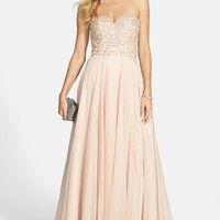 Women's Sherri Hill Embellished Chiffon Strapless Gown