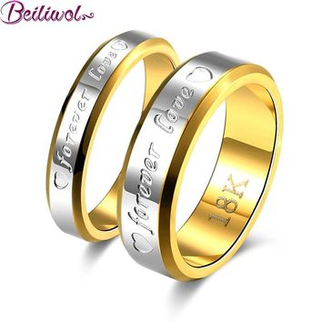Huge Special  - FREE+Shipping-  Wedding Couple Ring For Women & Men Engagement Stainless Steel Gold-color Forever Love Jewelry Fashion  No Fade
