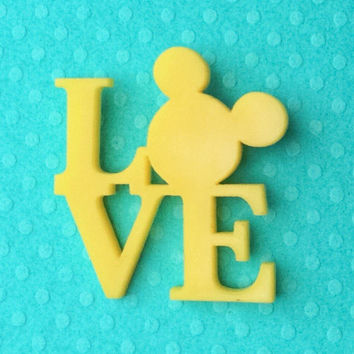 """Handmade """"All you Need Is Mouse Love"""" Yellow Mickey Mouse Love Inspired Brooch"""
