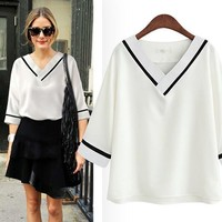 White Plain V-neck Casual Blouse