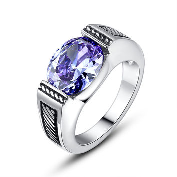 Stainless Steel Vintage Oval Light Purple Cubic Zirconia Ring