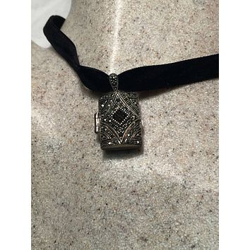 Handmade Vintage Style 925 Sterling Silver Rectangle Locket With Marcasite Pave