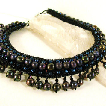 Black Pearl Bead Embroidery Necklace Dark by colorsoulartistry