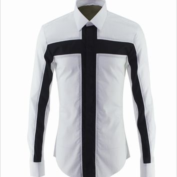 Unique Men's Fashion Cross Patchwork Dress Shirt