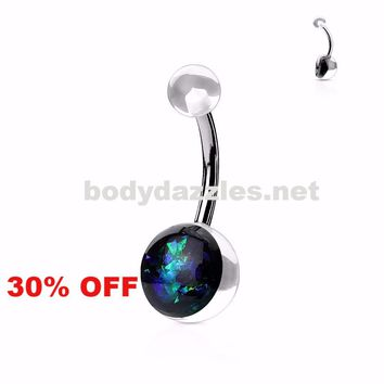 Green Opal Glitter Set On Clear Acrylic Ball Surgical Steel Belly Button Navel Rings 14ga Black Friday Cyber Monday