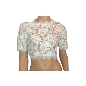 Lace Crop Top - White