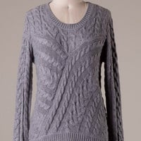 Sweater with Lace Bottom - Gray