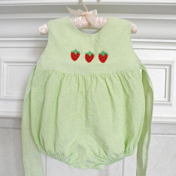 Baby Girl Bubble Strawberry and Green Gingham Size 12 Month Clothing Photo Props 1st Year Photography