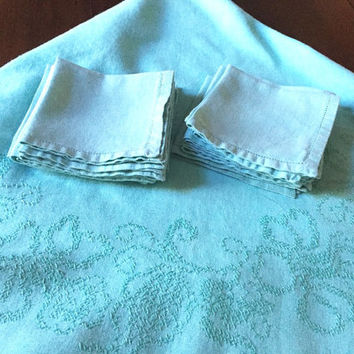 Vintage Linen Turquoise Tablecloth with Cross Stitched, Oval Tablecloth 12 Napkins, Spring Summer Table Linens,Home and Living
