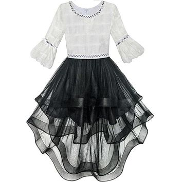 Flower Girl Dress White and Black Hi-lo Party Dancing Pageant 2017 Summer Princess Wedding Dresses Girl Clothes Size 6-14