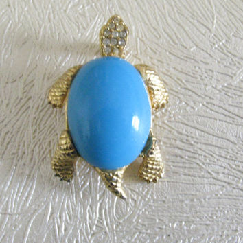 Sphinx Turtle Brooch, Vintage Figural Pin, Blue Lucite, Rhinestones, Gold, Numbered,