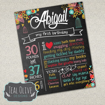 Custom Chalkboard Printable Birthday Sign - Girl First Birthday Poster - Vintage Chic - Birdcages - Birthday Sign - Digital Print - 16x20