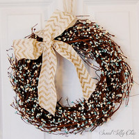 Cream and Blue Pip Berry Wreath, Turquoise and White Tiny Berry Wreath, Front Door Wreath, Indoor Wreath, Winter, Wedding
