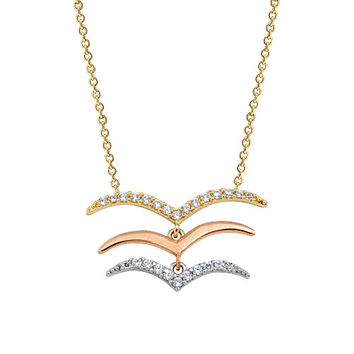 Seagulls 14k Solid Gold Necklace Multicolored Necklace Rose Gold Yellow Gold White Gold