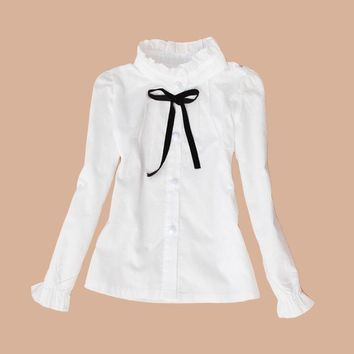 Cotton school uniform for large children clothes for teens white blouses and shirts with a collar and long sleeves top for girls 2-15 years