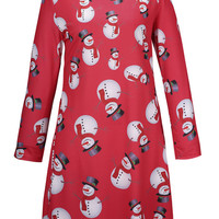 Red Snowman Print Long Sleeve Shift Dress
