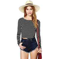 2016 Hot Fashion O-Neck Cotton Long Sleeve Full Striped T-shirts Women Slim Fit Regular Sexy Party Crop Tops Plus Big Size