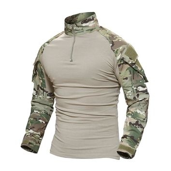 TACVASEN Tactical T-shirt Men Military Camouflage T Shirt Long Sleeve T-shirts For Fishing Hunting Clothes Tee Shirts