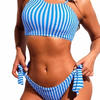 Blue White Striped Asymmetric Shoulder Bikini with Tie