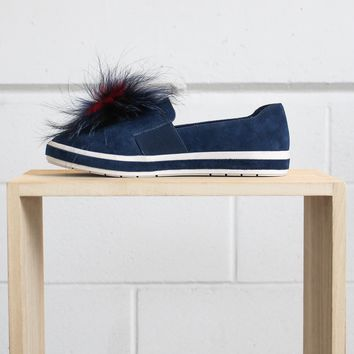 Romy Slip on Sneaker with Pom - Navy