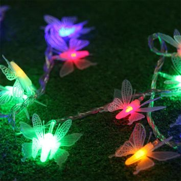 5M 40 Bulbs Butterfly LED String Lights Fairy Christmas Garland New Year holiday lights Wedding Christmas decorations for home