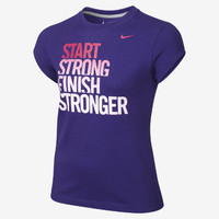 "The Nike ""Finish Stronger"" Girls' T-Shirt."