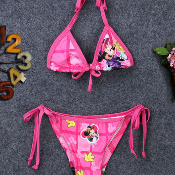 2PCS Cartoon Mouse Bikini Swimwear Swimming Bra+Trunks Princess Costume For Fille Bebe Baby Girl Kid Children Clothes new