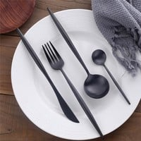 16/24/32pc Lux Black Flatware Set
