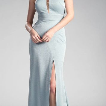 Ice Blue Long Prom Dress Halter Cut Out Back with Slit