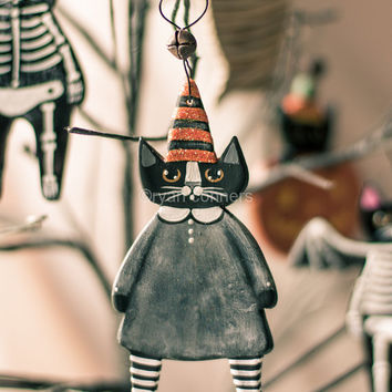 Witch Cat Halloween Clay Folk Art Ornament