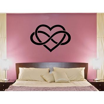 Wall Decal Heart Infinity Sign Love Romantic Bedroom Decor Vinyl Sticker (ed1144)