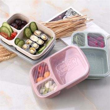 Lovely 3 Grid Wheat Straw Microwavable Meal Storage Food Prep  Box Lunch Container Lunchbox Portable Bento Box for Dinner