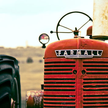 Farmall 8x8 - Red Tractor Photo - Farm Photograph - Red Tractor Wall Art  - Tractor Print