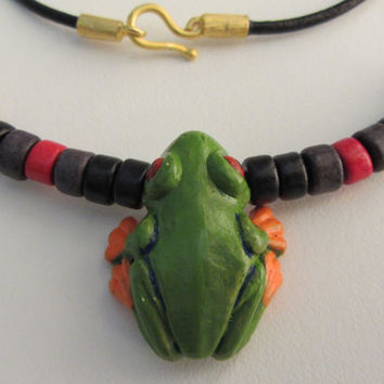 Ceramic 3D Peruvian Frog and Greek Beads on Black Leather Cord With 22k Gold Dipped Hook Clasp Necklace 19.5""