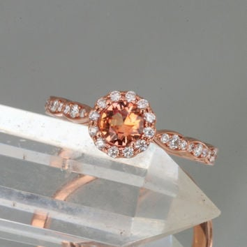 Apricot Sapphire 14k Rose Gold Flower Style Engagement Ring Diamond Halo Gemstone Engagement Ring Weddings Anniversary