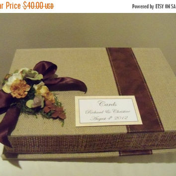 ON SALE Wedding Card Box Cardholder / Burlap and Leather Box / Rustic Wedding