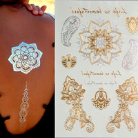 Free Shopping New Fashion Jewelry Metallic Gold Silver Temporary Tattoos Jewelry Flash Body Bling Styles