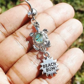 CZ crystal Abalone Sea turtle and beach 14 gauge stainless steel belly navel ring, body jewelry, 14g