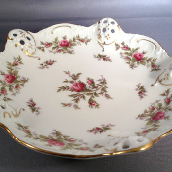 "Rosenthal Moliere Moosrose Scalloped Rose Bon Bon bowl 6"" Germany - Bavarian - pink - gold - Mossrose - roses - pierced - 5 sided"
