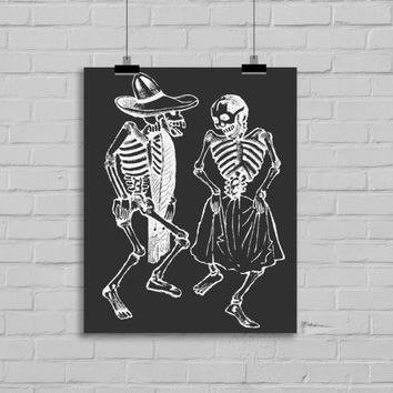 Day of the Dead Art Print - Wall Art - Home Decor - Office Decor - Mexican Art