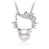 Silver plated Shambhala Super Flash crystal imitation pearl jewelry agate stone pendant fashion Hello Kitty No match necklace
