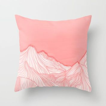 Lines in the mountains - pink Throw Pillow by ViviGonzalezArt
