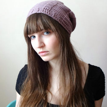 Dusty Rose Baker's Beanie - Crochet Hat Slouchy Ribbed Toque