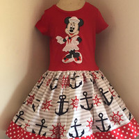 Disney Sailor Minnie Mouse Appliqued T Shirt Dress Available from 12m to 14/16